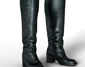 Boot Horseriding Black Leather Woman Fashion Footwear 3D