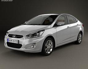 Hyundai Accent RB sedan with HQ interior 2014 3D model