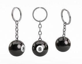 3D Pool Ball Keychain