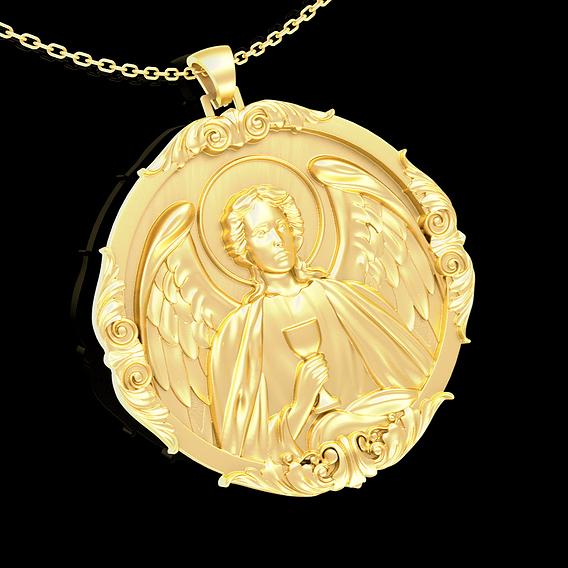 Sfantul Arhanghel Rafail pendant jewelry gold necklace medallion 3D print model