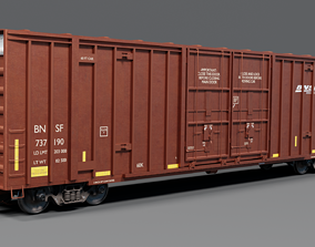 3D Railway BNSF Box Car