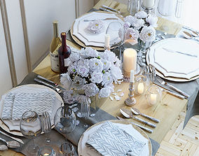 Summer table setting with bright peonies 3D model