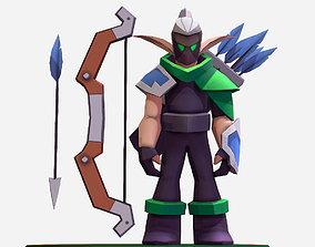 Handpaint Cartoon Archer Warrior MMO rpg 3D model