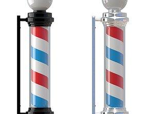 Barber Shop Pole White And Black 3D model