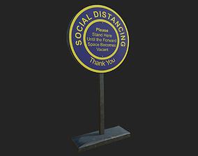 Social Distancing Signage 3D asset realtime PBR
