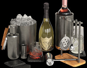 3D Crate and Barrel graphite cocktail set