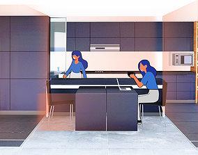 architecture kitchen 3D model POST Covid-19- cocina