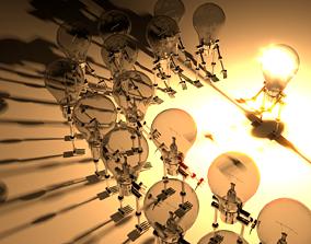 3D A Scene with humanoid like Light Bulbs