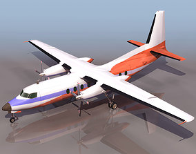 Fokker 27 turboprop airliner 3D Model rigged