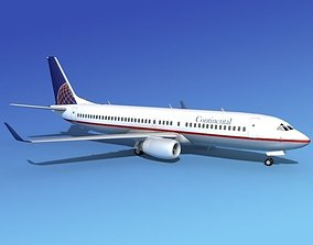Boeing 737-800 Continental Airlines 3D rigged