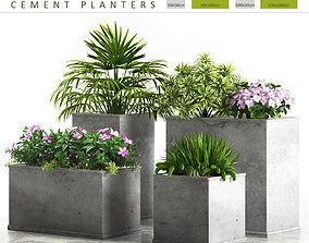 3D model planter box cement