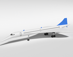 Low Poly Cartoon Concorde Airplane 3D model