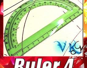 Plastic Protractor Ruler 04 3D