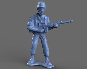 3D model Green Army Man Guarding Miniature