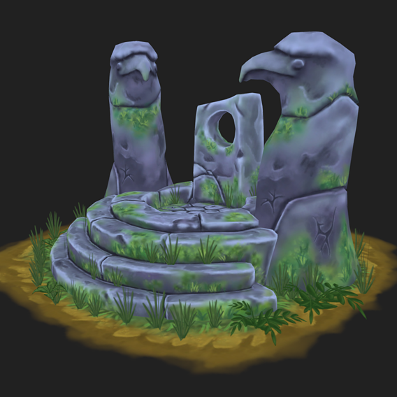 Ancient altar Low-poly 3D model