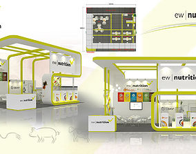 3D model Booth EW Nutrition design size 9X8m 72sqm Option