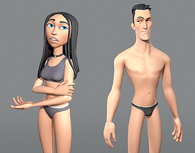 3D model Male and female cartoon characters base 1