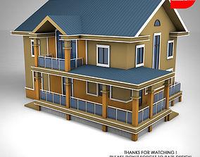 3D asset Sloped Roof House
