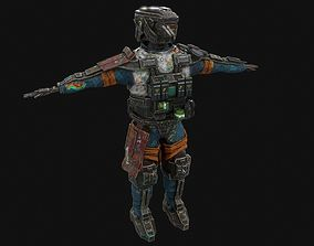 3d low poly highly detailed sci fi military game-ready