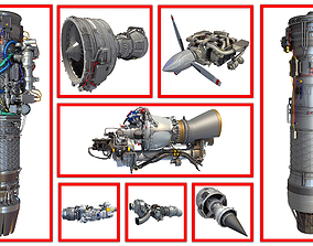 8 Aircraft Engine Models 3D