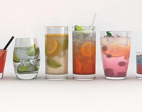6 Drinks 3D model