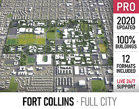 Fort Collins - city and surroundings 3D asset