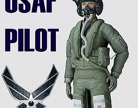 US Air Force F35AA1 Pilot MAX 9 Rigged 3D