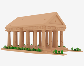 Cartoon Greek Temple Parthenon 3D model