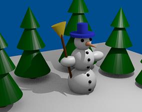 VR / AR ready Snowman Low-poly 3D model
