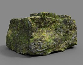 Low poly Sharp Rock Mossy 05 191219 3D asset