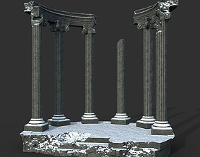 3D asset Low poly Ancient Roman Ruin Construction 05 - 1