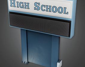 School Sign - CLA - PBR Game Ready 3D model