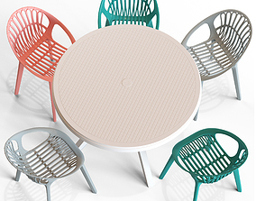 Ibiza Round Table and Loftdesigne Chair 30233 3D model