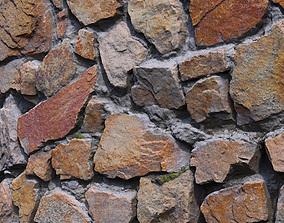 Wall of granite stones scan 16 3D asset