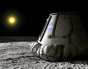 Moon surface and landing module 3D