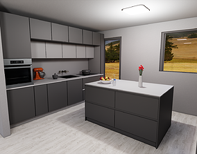 3D model game-ready modern kitchen with island