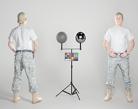 Young American soldier in a white t-shirt and cap 3D asset