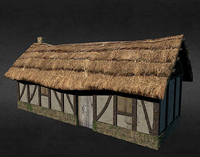 3D model low-poly Medieval house exterior