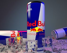 3d Redbull can With Ice cubes