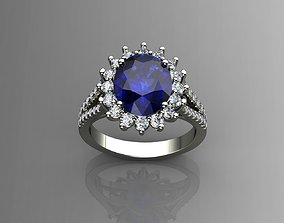 3D print model Diamond and Blue Sapphire Ring
