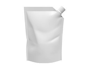 3D Blank Pouch Bag With Corner Spout Lid Mock Up 01