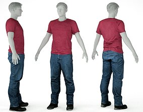 3D asset Male Casual Outfit 31 Tshirt Jeans Shoes