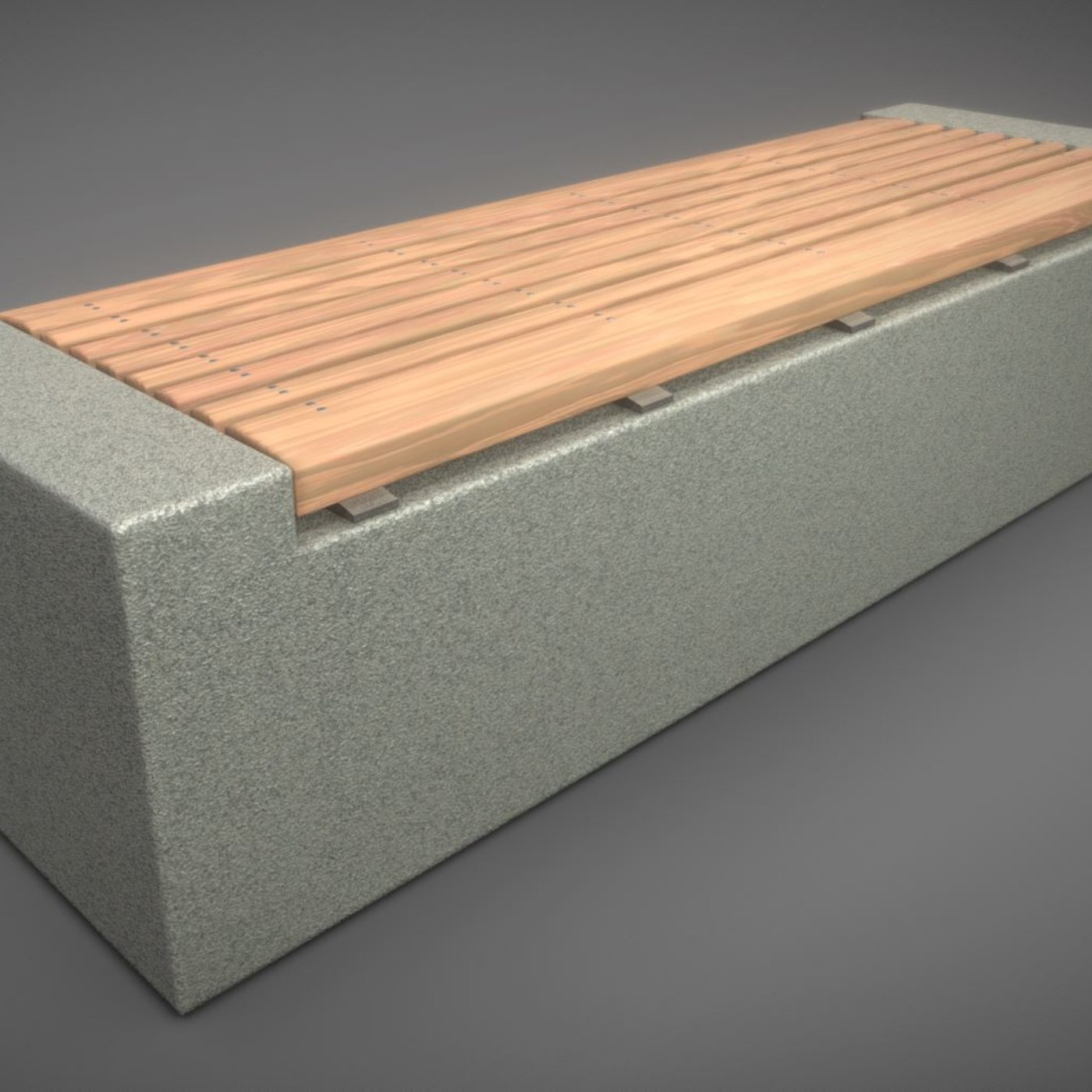 Wood Bench on Concrete Block