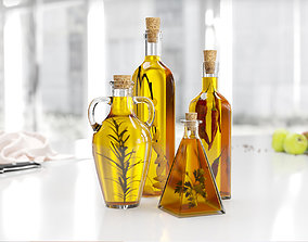 3D Yellow oil displayer bottles for kitchen