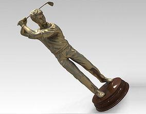 3D Models Golfer bronze statue