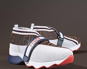 3D model Fendi Monogram White Sneakers