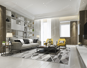 3D modern living room with yellow armchair and bookshelf 1