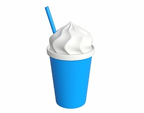 3D model Plastic cup with ice cream shape for mockup