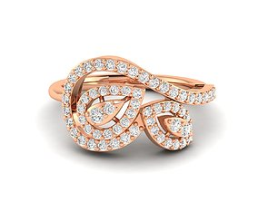 white jewel Women Ring 3dm stl render detail