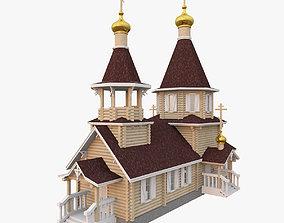 3D model theocratic Russian Orthodox Wood Church